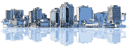 Halifax Skyline. A sketch of the skyline of the city of Halifax, Nova Scotia, Canada Royalty Free Stock Photography
