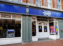 Halifax Store Front. Reading, United Kingdom - June 22 2018: The store frontage of The Halifax bank in Broad St stock images