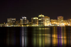 Halifax Waterfront. Night time view of the Halifax, Nova Scotia waterfront as viewed from the Dartmouth side Royalty Free Stock Images