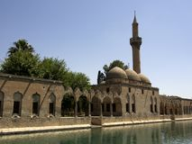 Halil-ur Rahman Mosque e lago santamente Sanliurfa, Turquia fotografia de stock