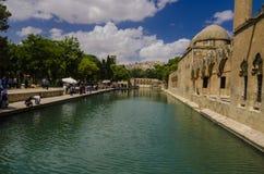 Halil-ur Rahman Mosque, helig sjö (fisk sjön), Urfa Royaltyfri Fotografi