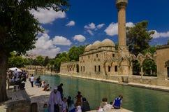 Halil-ur Rahman Mosque, helig sjö (fisk sjön), Urfa Arkivbilder
