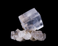 Halite Crystal Cluster Front View on Black Background Royalty Free Stock Image