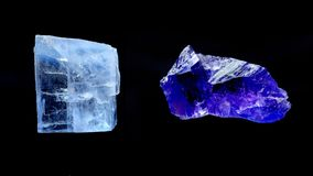 Halite crystals. Blue and purple halite crystals, from Saskatchewan; isolated on black Stock Photos