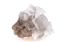 Halite salt cubes. Isolated on the white background royalty free stock photography