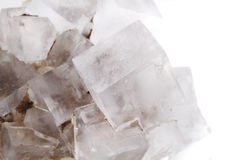 Halite salt cubes. Isolated on the white background royalty free stock images