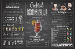Vintage chalk drawing cocktail menu design. Restaurant menu Stock Images