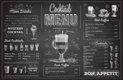 Vintage chalk drawing cocktail menu design. Restaurant menu Royalty Free Stock Photos