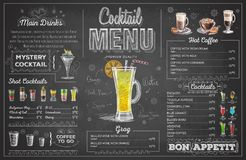Vintage chalk drawing cocktail menu design. Restaurant menu Stock Photo