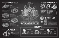 Vintage chalk drawing seafood menu design. Restaurant menu Royalty Free Stock Image