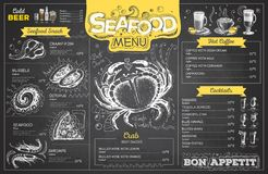 Vintage chalk drawing seafood menu design. Restaurant menu Royalty Free Stock Photos