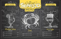 Vintage chalk drawing seafood menu design. Restaurant menu Stock Image