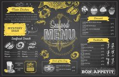 Vintage chalk drawing seafood menu design. Restaurant menu Stock Photo