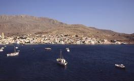 Halki-Dodecanese (Greece). Looking down onto the village of Emborio on the Greek island of Halki Stock Image