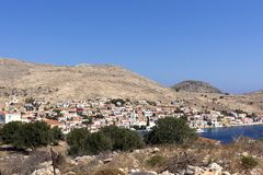 Halki island,panoramic view of Emborios. Aegean sea, Dodecanese Islands, Greece. Halki is the smallest inhabited island of the Dodecanese, near Rhodes royalty free stock photo