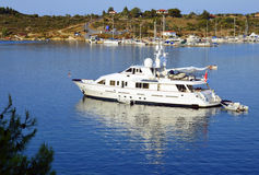 Halkidiki boat. In a golf of Sithonia stock images