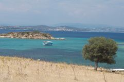 Halkidiki coastline. Scenic view of Halkidiki sea and coastline, Greece Royalty Free Stock Photo