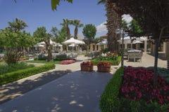 Halkidiki, Greece Sani luxury hotel resort marina shops view. Stock Photos