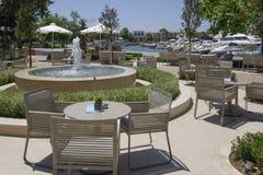 Halkidiki, Greece Sani luxury hotel resort marina shops view. Royalty Free Stock Photos
