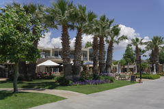 Halkidiki, Greece Sani luxury hotel resort marina shops view. Royalty Free Stock Photo