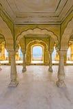 Hall à colonnes d'Amber Fort près de Jaipur Image libre de droits