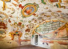 Hall в замке Torrechiara Италия Стоковая Фотография