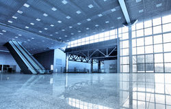 Hall. Large modern hall with windows and escalator Stock Image