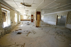 Hall in an abandoned hotel Royalty Free Stock Photography