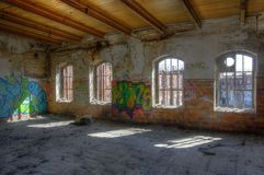 Hall, abandoned, old, dilapidated Stock Image
