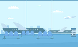 Hall of the airport. View of the runway. Planes outside the window royalty free illustration