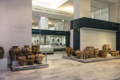 The hall of the Archaeological Museum of Heraklion with exhibits of the period of the Minoan civilization, Crete Royalty Free Stock Images