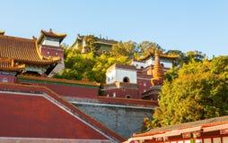 Hall av Buddha som bekräftar hans plats för doktrin (Xiangyan Zongyin Zhi Ge) av sommarslotten arkivfoto