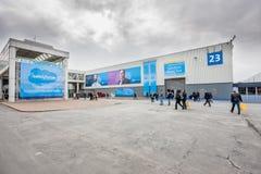 Hall av det Salesforce företaget på CeBIT Royaltyfria Bilder