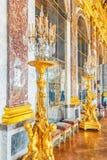 Hall av MirrorsGalerie des Glaces - är slott`en s mest cele Arkivfoton