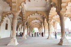 Hall av offentliga åhörare i det Agra fortet, Indien Arkivfoto
