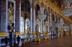 Hall av speglar, Versailles slott, Frankrike Fotografering för Bildbyråer