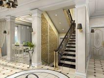Hall avec l'escalier classique Image libre de droits