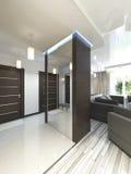Hall avec un couloir dans le style contemporain avec une garde-robe et un a Image libre de droits