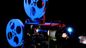 Hall bioshow, anblick som är retro, dokumentfilm stock video