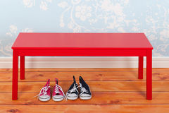 Hall with blue vintage wall paper and red bench Stock Photos
