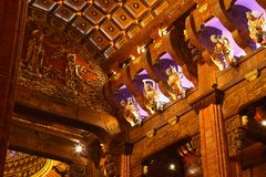 Hall in buddhist temple Royalty Free Stock Photography