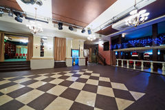 Hall in cafe. Hall with checkered floor in cafe Stock Images