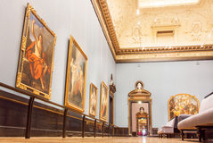 Hall with carved ceilings and big collection of old paintings of Kunsthistorisches Museum in Austria Stock Photography