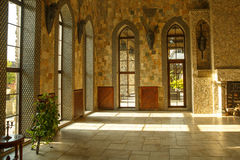 Hall of castle palace with large windows. Stock Photos