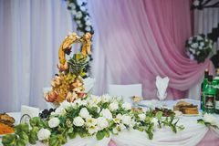 Hall for celebration of a wedding banquet 2779. Royalty Free Stock Images