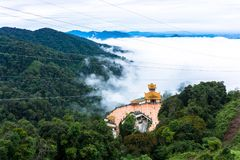 Chin Swee Caves Temple Genting Highlands Malaysia. This is the hall of Chin Swee Caves Temple Genting Highlands Malaysia and the weather was cloudy Stock Image