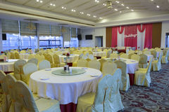 Hall chinois de restaurant de mariage Photos stock