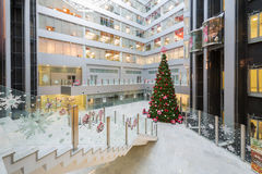 Hall with a Christmas tree in Main office Rosbank Royalty Free Stock Photos