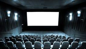 Hall of cinema. Empty hall of cinema and white screen Stock Image