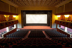 Hall of a cinema and lines armchairs Royalty Free Stock Images